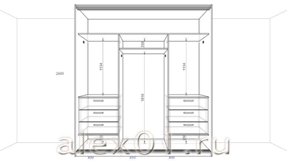 Красивое рядом - проект шкафа купе 3 метра с размерами..