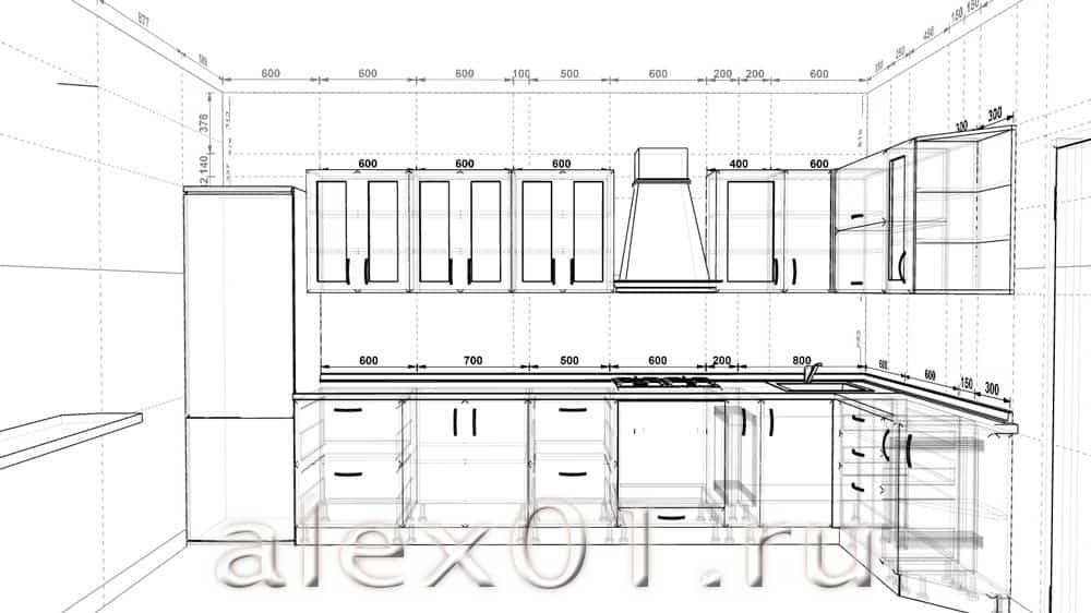 Как сделать чертеж для кухонной мебели